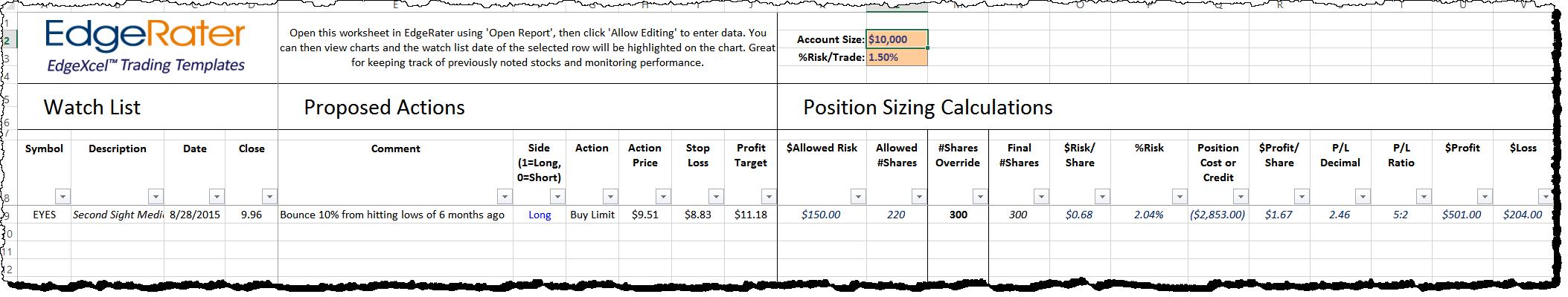 Position Sizing Worksheet