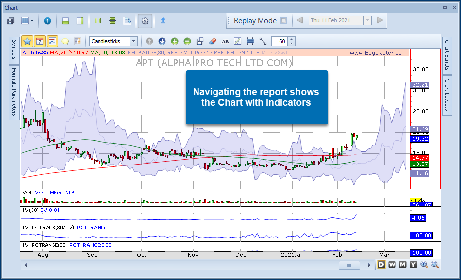 Navigating the report shows the chart with indicators